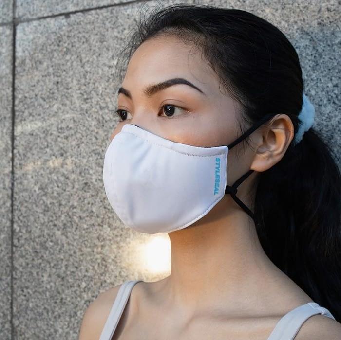 woman wearing styleseal basic face mask white
